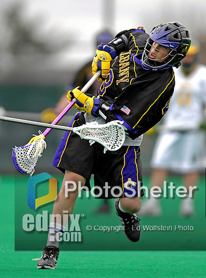 14 April 2007: University of Albany Great Danes' Corey Small, a Sophomore from St. Catharines, Ontario, in action against the University of Vermont Catamounts at Moulton Winder Field, in Burlington, Vermont. The Great Danes defeated the Catamounts 14-7...Mandatory Photo Credit: Ed Wolfstein Photo
