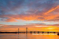 63895-15601 Clark Bridge at sunrise over Mississippi River Alton, IL
