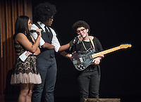 Apollo Night hosts Nina Reynoso '16 and Chance Ward '18 introduce Karim Sharif '18. Occidental College students perform and compete during Apollo Night, one of Oxy's biggest talent showcases, on Friday, Feb. 26, 2016 in Thorne Hall. Sponsored by ASOC, hosted by the Black Student Alliance as part of Black History Month.<br /> (Photo by Marc Campos, Occidental College Photographer)