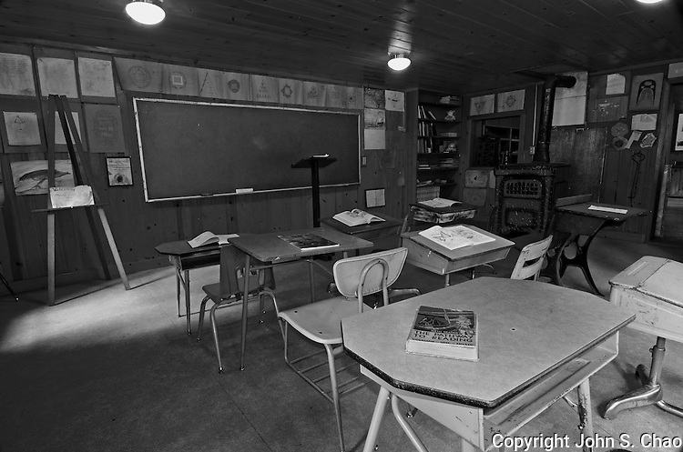 Interior view of the historic Stehekin Schoolhouse in Stehekin, North Cascades National Park, Washington State. Image adjusted with Black and White filter.