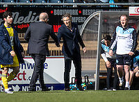 Wycombe Wanderers Manager Gareth Ainsworth and Accrington Stanley Manager John Coleman during the Sky Bet League 2 match between Wycombe Wanderers and Accrington Stanley at Adams Park, High Wycombe, England on the 30th April 2016. Photo by Liam McAvoy / PRiME Media Images.