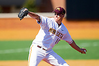 Starting pitcher Phil Isaksson #10 of the Minnesota Golden Gophers in action against the Towson Tigers at Gene Hooks Field on February 26, 2011 in Winston-Salem, North Carolina.  The Gophers defeated the Tigers 6-4.  Photo by Brian Westerholt / Four Seam Images