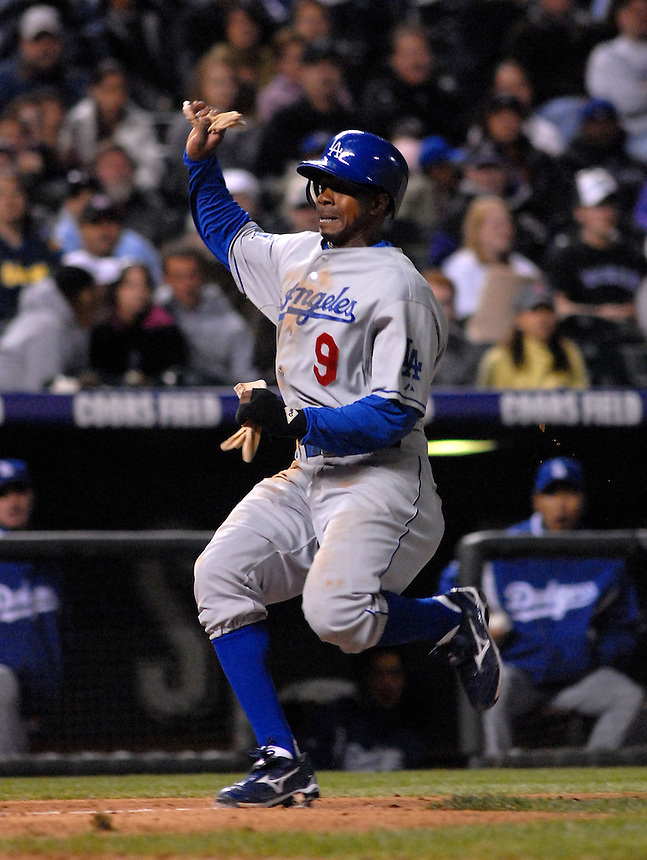 Dodgers outfielder Juan Pierre races home during a game between the Los Angeles Dodgers and the Colorado Rockies at Coors Field in Denver, Colorado on May 3, 2008.