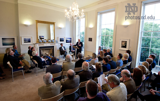 "Aug. 29, 2012; James ""Jimmy"" Deenihan, Ireland's Minister for Arts, Heritage and the Gaeltacht speaks at O'Connell House in Dublin to open the Notre Dame 1916 Dublin Conference...Photo by Matt Cashore/University of Notre Dame"