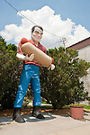Muffler man with hot dog (Bunyon's Statue) along Rt. 66 in Atlanta, Illinois.