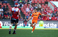 Nicolas Sanchez of the Jaguares during the Super Rugby quarter-final match between the Emirates Lions and the Jaguares at the Emirates Airlines Park Stadium,Johannesburg, South Africa on Saturday, 21 July 2018. Photo: Steve Haag / stevehaagsports.com
