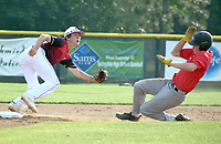 RICK PECK/SPECIAL TO MCDONALD COUNTY PRESS Wade Rickman steals second base during the McDonald County 18U baseball team's 10-9 win on June 21 over the Naturals Baseball Academy in the Jack's Link Mid-South Exposure in Springdale, Ark.
