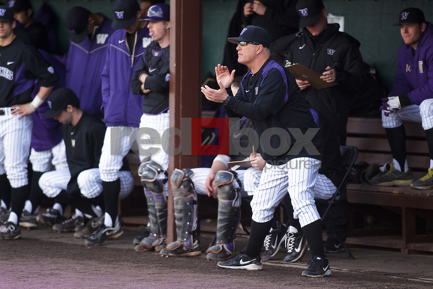 Lindsay Meggs - Head Coach-University of Washington Huskies mens baseball splits a double-header with University of Oregon Ducks at Huskies Baseball Stadium in Seattle Mar. 18, 2012. (Photos by Andy Rogers/Red Box Pictures)