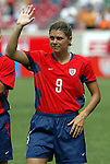 6 June 2004: Mia Hamm during player introductions. The United States tied Japan 1-1 at Papa John's Cardinal Stadium in Louisville, KY in an international friendly soccer game..