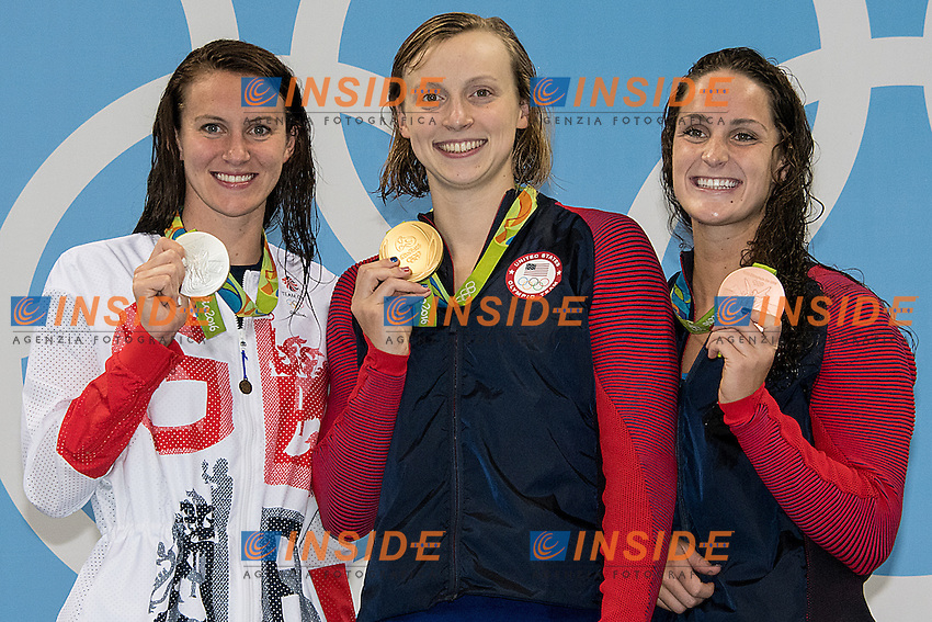 Carlin Jazz GBR silver medal, Ledecky Katie USA World Record 3.5646 and Gold medal, Smith Leah USA<br /> 400 freestyle women<br /> Rio de JaneiroXXXI Olympic Games <br /> Olympic Aquatics Stadium <br /> Swimming finals 07/08/2016<br /> Photo Giorgio Scala/Deepbluemedia/Insidefoto