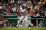 22 August 2009: Milwaukee Brewers' outfielder Mike Cameron at bat against the Washington Nationals as the rain falls at Nationals Park in Washington, DC. The Brewers defeated the Nationals 11-9 in the second game of their four-game series. Mandatory Credit: Ed Wolfstein Photo