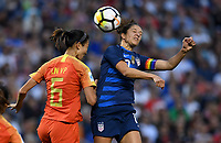 Cleveland, Ohio - Tuesday June 12, 2018: Lin Yuping, Carli Lloyd during an international friendly match between the women's national teams of the United States (USA) and China PR (CHN) at FirstEnergy Stadium.