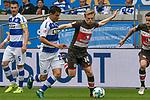 13.05.2018, Schauinsland-Reisen-Arena, Duisburg, GER, 2.FBL, MSV Duisburg vs FC St. Pauli, im Bild v. li. im Zweikampf Fabian Schnellhardt (#23, MSV Duisburg) Mats Moeller / M&ouml;ller Daehli (#14, FC St. Pauli) <br /> <br /> <br /> Foto &copy; nordphoto/Mauelshagen