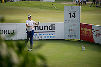 Ian Poulter of England in act at the third round of the Hong Kong Open golf tournament in Fanling Golf Club, Hong Kong,  24 Oct., 2015