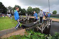 FIERLJEPPEN: BURGUM: Accommodatie 'De Jint', Ljeppersklup Burgum, 11-07-2012, 1e Klas wedstrijd, Afgelast vanwege de regen, overzicht schans, ©foto Martin de Jong
