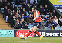 Danny Hylton of Luton Town scores his 22nd goal of the season during the Sky Bet League 2 match between Yeovil Town and Luton Town at Huish Park, Yeovil, England on 4 March 2017. Photo by Liam Smith / PRiME Media Images.