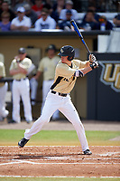 UCF Knights center fielder Luke Hamblin (12) at bat during a game against the Siena Saints on February 21, 2016 at Jay Bergman Field in Orlando, Florida.  UCF defeated Siena 11-2.  (Mike Janes/Four Seam Images)