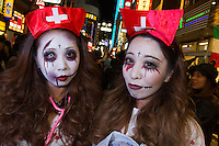 People dressed in nurse costumes for Halloween in Shibuya, Tokyo, Japan. Friday October 31st 2014
