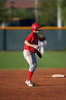 AZL Angels Spencer Brown (9) leads off second base during an Arizona League game against the AZL D-backs on July 20, 2019 at Salt River Fields at Talking Stick in Scottsdale, Arizona. The AZL Angels defeated the AZL D-backs 11-4. (Zachary Lucy/Four Seam Images)