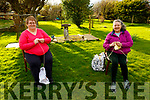 Marie O'Shea and Edel Connelly Bowler enjoying their knitting outdoors at Marie's home in Currahean on Tuesday.