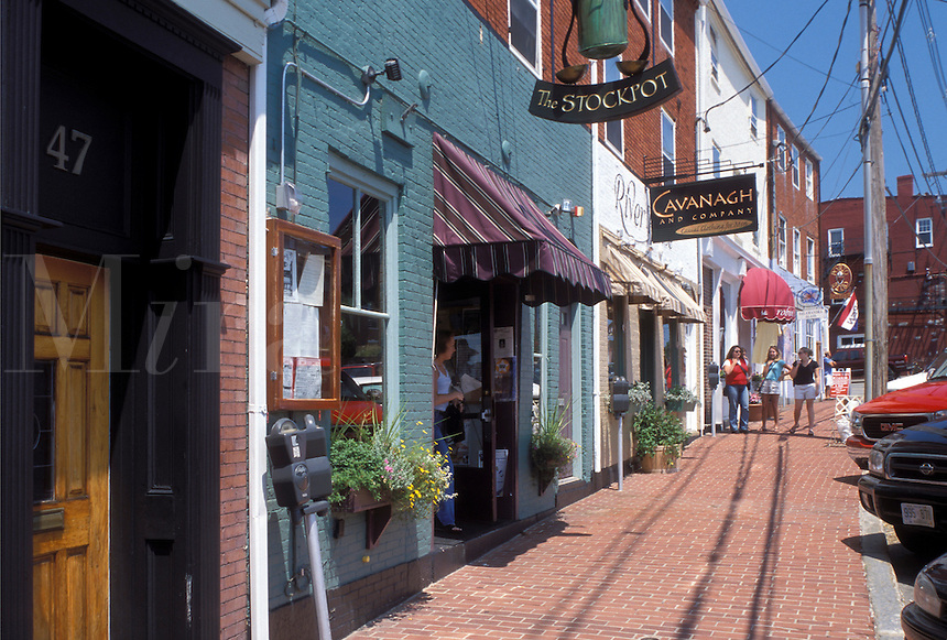 Portsmouth, NH, New Hampshire, Shops along Bow Street in downtown Portsmouth in the autumn.