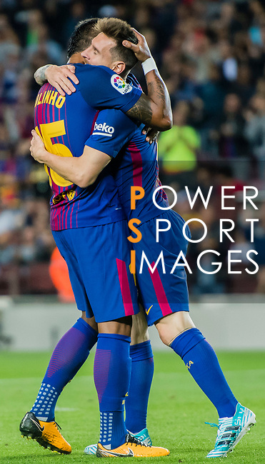 Lionel Andres Messi of FC Barcelona (R) celebrates after scoring his goal Jose Paulo Bezerra Maciel Junior, Paulinho, of FC Barcelona (L) during the La Liga 2017-18 match between FC Barcelona and SD Eibar at Camp Nou on 19 September 2017 in Barcelona, Spain. Photo by Vicens Gimenez / Power Sport Images