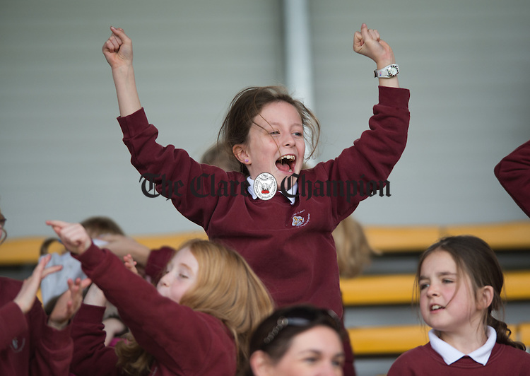 Ballyea fans cheer on their team at the Cumann na mBunscoil Finals at Cusack Park. Photograph by John Kelly.