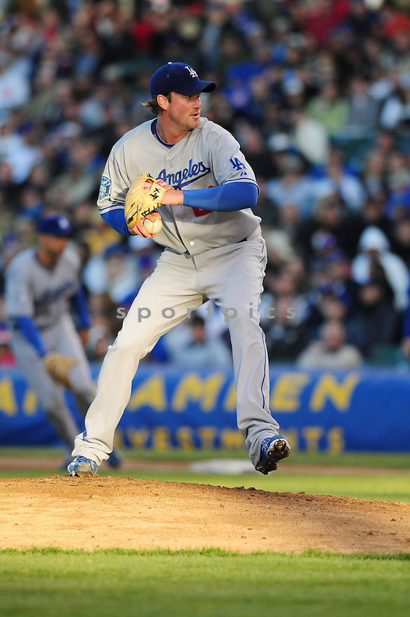 DEREK LOWE, of the Los Angeles Dodgers in action against the Chicago Cubs during the Dodgers game in Chicago, IL on May 28, 2008 The Cubs won the game 2-1.