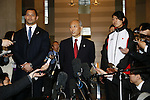 (L-R)<br />  2020Koji Murofushi,<br />  Yoichi Masuzoe, <br />  Haruna Sakakibara,<br /> APRIL 3, 2014 : IOC committee members inspected the athletes village, Koji Murofushi director, Yoichi Masuzoe Tokyo governor  and U23 Rowing national team's member was welcomed at Harumi Port Terminal in Tokyo, Japan. (Photo by AFLO SPORT)