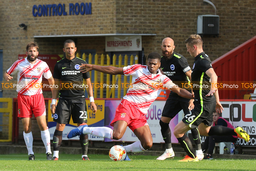 Rowan Liburd of Stevenage gets in a shot at the Brighton goal during Stevenage vs Brighton and Hove Albion, Friendly Match Football at the Lamex Stadium on 23rd July 2016