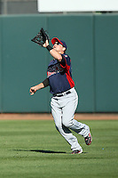 Jerad Head of the Cleveland Indians plays against the Oakland Athletics in a spring training game at Phoenix Municipal Stadium on March 2, 2011  in Phoenix, Arizona. .Photo by:  Bill Mitchell/Four Seam Images.