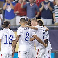 Foxborough, Massachusetts - July 10, 2015: In 2015 CONCACAF Gold Cup Group A match, USA (white) defeated Haiti (blue), 1-0, at Gillette Stadium.<br /> Celebrate Clint Dempsey goal.