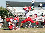 Palos Verdes, CA 10/24/14 - Preston Faecher (Redondo Union #4) and Dominik Eberle (Redondo Union #42)in action during the Redondo Union - Palos Verdes Peninsula CIF Varsity football game at Peninsula High School.