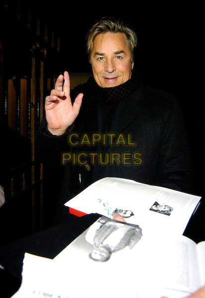 "DON JOHNSON.""Guys & Dolls"" VIP Performance, Picadilly Theatre, London, UK..January 24th, 2007.half length black coat hand waving .CAP/CAN.©Can Nguyen/Capital Pictures"