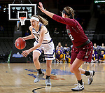 SIOUX FALLS, SD: MARCH 7: Mallory Boyle #10 from Western Illinois looks to drive past the defense from IUPUI during the Women's Summit League Basketball Championship Game on March 7, 2017 at the Denny Sanford Premier Center in Sioux Falls, SD. (Photo by Dave Eggen/Inertia)