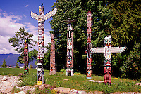 Totem Poles at Brockton Point in Stanley Park, Vancouver, BC, British Columbia, Canada, Summer