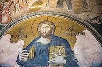 Church of St Saviour in Chora, Kariye Museum St Savior Deesis mosaic of Jesus Christ, The Chalkite Christ, Istanbul, Turkey