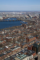 View of Boston from the Prudential Tower. Charles River and Cambridge