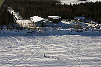 Aerial of Team Leaving McGrath Chkpt Kuskokwim River 2005 Iditarod
