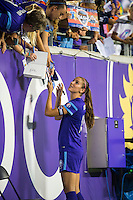 Orlando, FL - Thursday June 23, 2016: Alex Morgan after a regular season National Women's Soccer League (NWSL) match between the Orlando Pride and the Houston Dash at Camping World Stadium.
