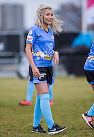 Samantha Harvey (Singer / Songwriter) enjoys the day  during the SOCCER SIX Celebrity Football Event at the Queen Elizabeth Olympic Park, London, England on 26 March 2016. Photo by Andy Rowland.