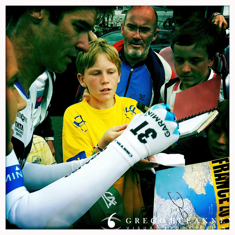 David Millar signs autographs at the 2011 Tour de France - Stage 20 Time Trial - Grenoble, France