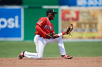 Batavia Muckdogs shortstop Demetrius Sims (3) fields a ground ball during a game against the Lowell Spinners on July 15, 2018 at Dwyer Stadium in Batavia, New York.  Lowell defeated Batavia 6-2.  (Mike Janes/Four Seam Images)