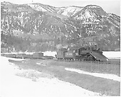 D&amp;RGW #463 with large wedge plow, short caboose switching cars at Rockwood.<br /> D&amp;RGW  Rockwood, CO  3/1949