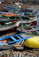 Beached rowing boats Terasitas beach, Santa Cruz. Tenerife, Canary Islands.