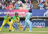 Eoin Morgan (England) misses an attempted reverse sweep and Alex Carey (Australia) takes during Australia vs England, ICC World Cup Semi-Final Cricket at Edgbaston Stadium on 11th July 2019