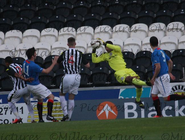 Chris Dilo saving in the St Mirren v Rangers Scottish Professional Football League Under 20 match played at St Mirren Park, Paisley on 10.9.13.