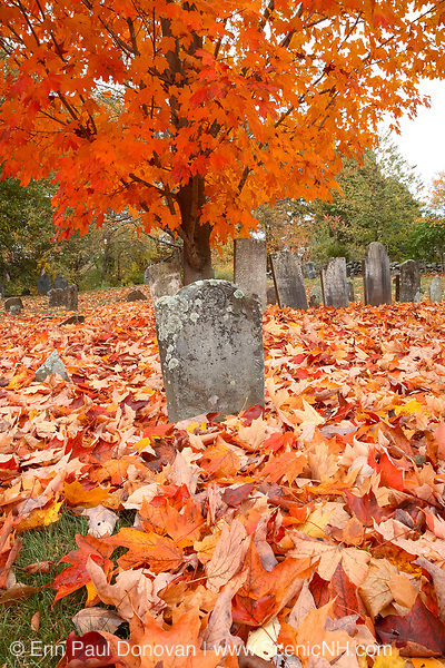 Old Brookside Cemetery in Hampton Falls, New Hampshire during the autumn months.