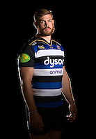 Dave Attwood poses for a portrait in the 2015/16 home kit during a Bath Rugby photocall on September 8, 2015 at Farleigh House in Bath, England. Photo by: Patrick Khachfe / Onside Images