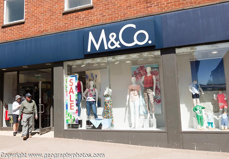 M&Co clothes shop sale, Woodbridge, Suffolk, England, UK